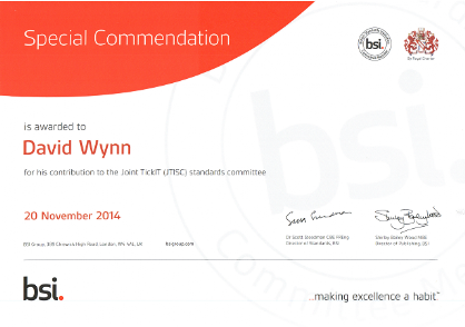 Copy of Dave Wynn's Special Commendation from the BSI for contributions to JTISC